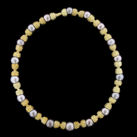 18K Yellow Gold Cultured Tahitian Pearl Necklace