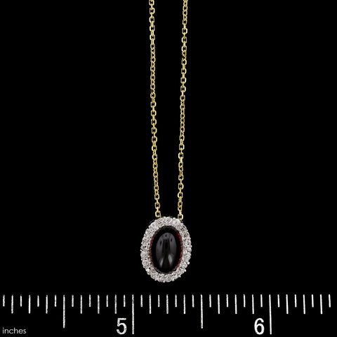 14K Yellow Gold Estate Garnet and Diamond Pendant