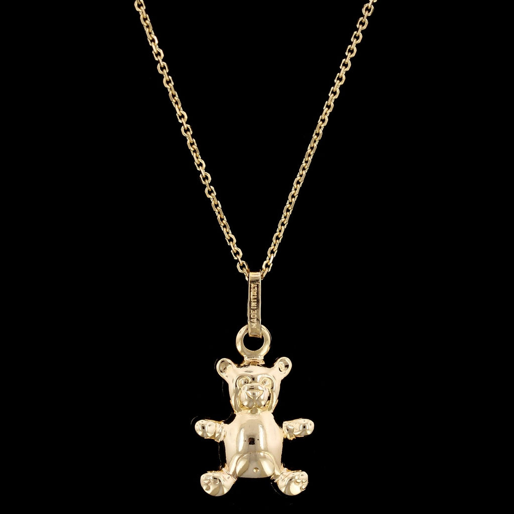 14K Yellow Gold Estate Teddy Bear Pendant