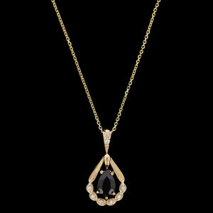 14K Yellow Gold Green Tourmaline and Diamond Pendant