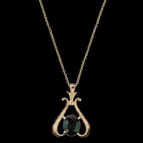 14K Yellow Gold Estate Green Tourmaline Diamond Pendant
