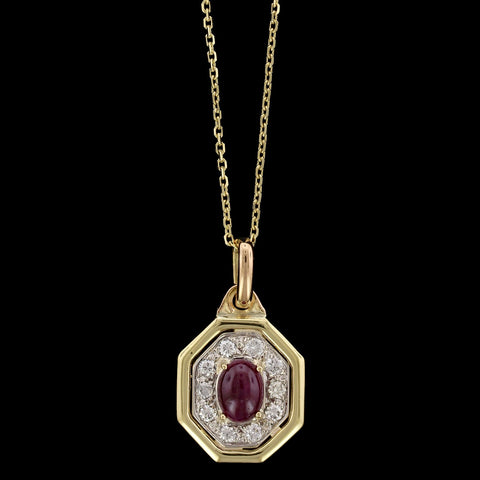 18K Yellow Gold Ruby and Diamond Pendant
