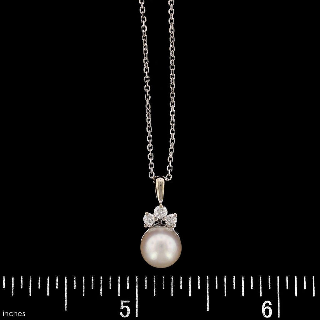 14K White Gold Cultured Pearl and Diamond Pendant