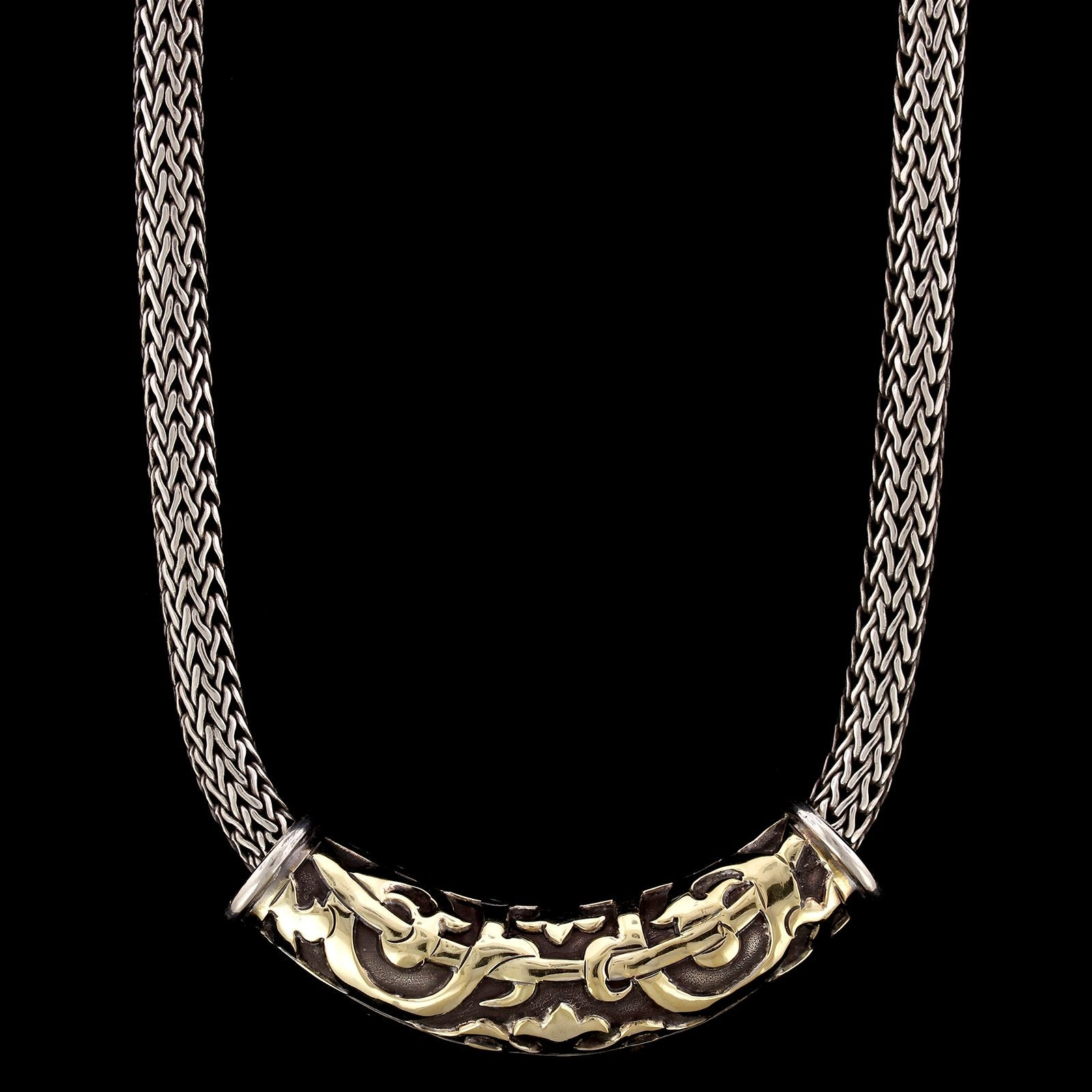 John Hardy Sterling Silver and 18K Yellow Gold Dayak Slide with Classic Chain