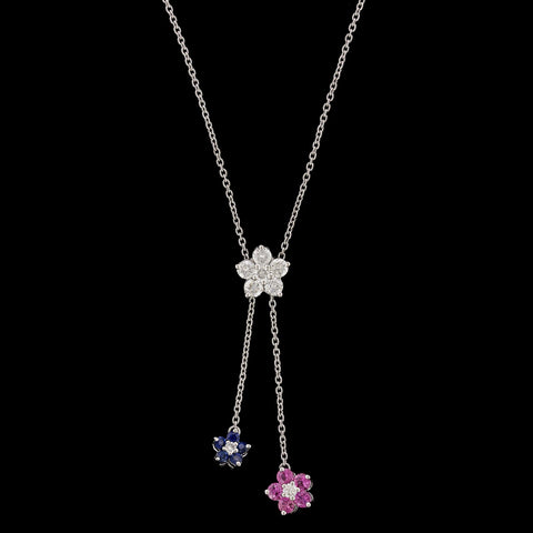 Platinum Pink Sapphire, Sapphire and Diamond Necklace