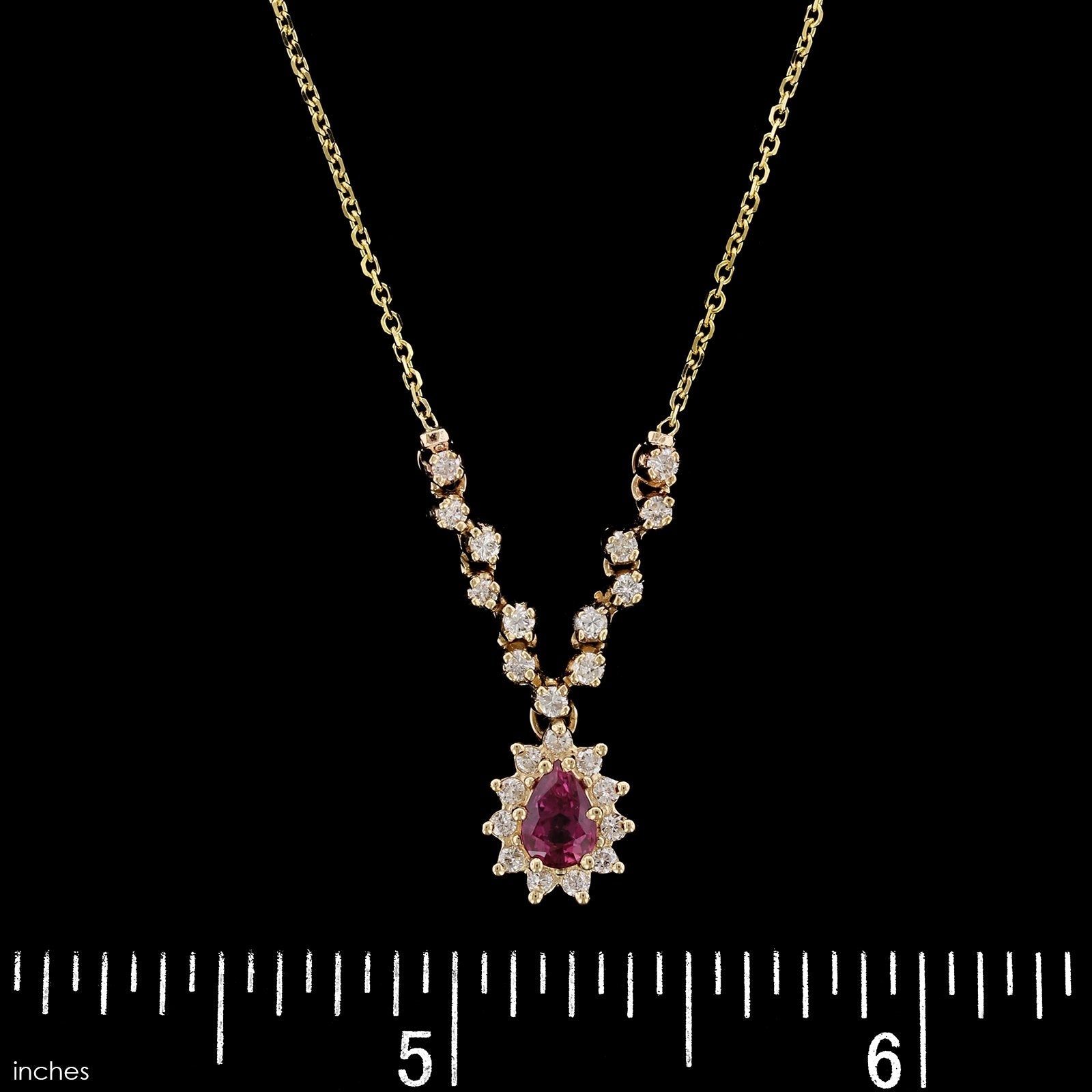 14K Yellow Gold Estate Ruby and Diamond Pendant