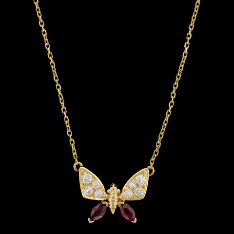 18K Yellow Gold Ruby and Diamond Butterfly Pendant
