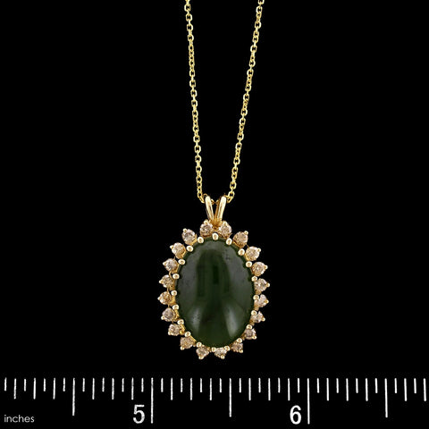 14K Yellow Gold Nephrite Jade and Diamond Pendant