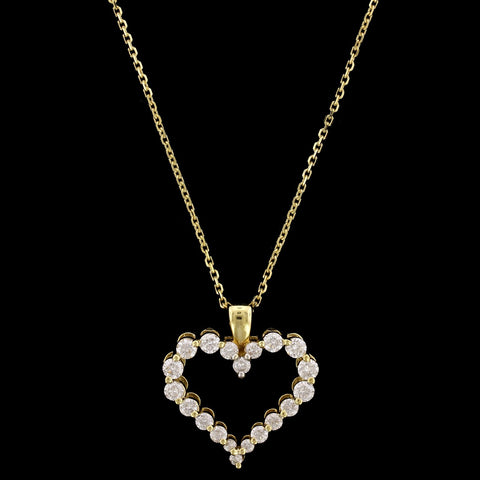 18K Yellow Gold Estate Diamond Heart Pendant