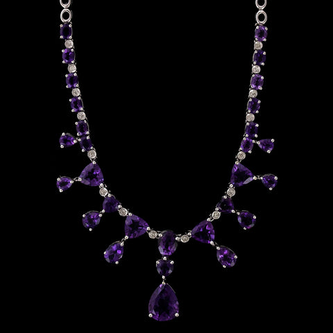 18K White Gold Amethyst and Diamond Necklace