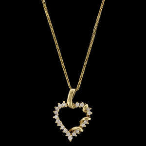 14K Yellow Gold Estate Diamond Heart Pendant