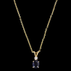 14K Yellow Gold Estate Sapphire and Diamond Pendant