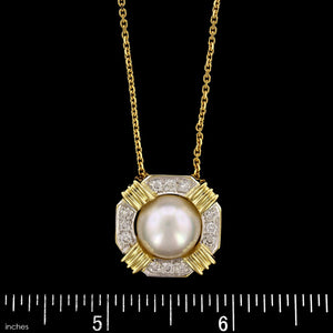 14K Yellow Gold Estate Cultured Mabe Pearl and Diamond Pendant