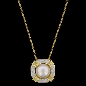 14K Yellow Gold Cultured Mabe Pearl and Diamond Pendant