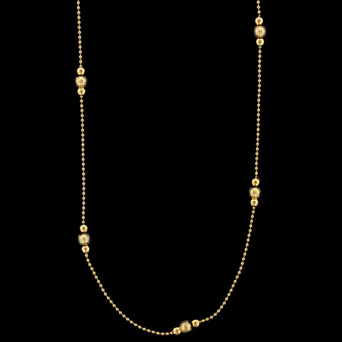 14K Yellow Gold Estate Fancy Link Bead Necklace