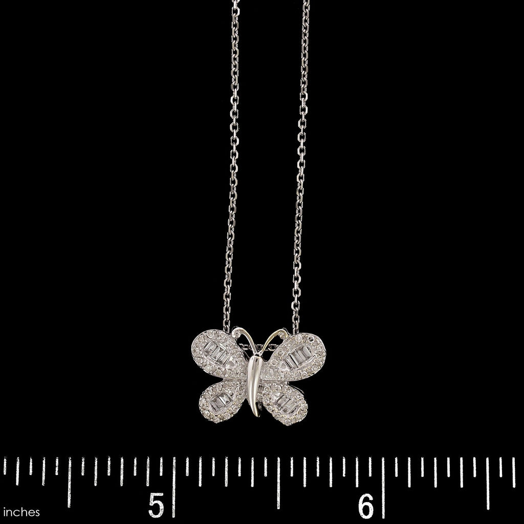 14K White Gold Estate Diamond Butterfly Pendant
