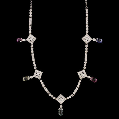 18K White Gold Estate Colored Sapphire and Diamond Necklace