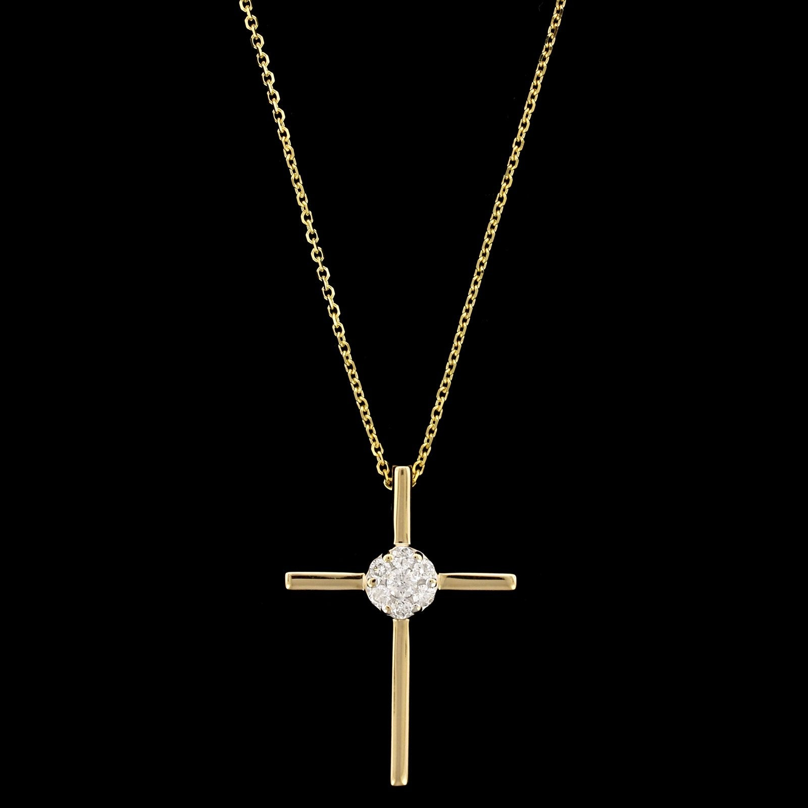 14K Yellow Gold Estate Diamond Cross Pendant