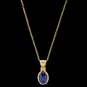 14K Yellow Gold Estate Tanzanite Pendant