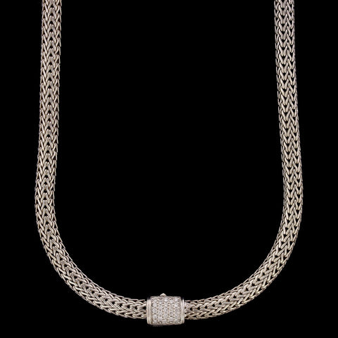 John Hardy Estate Sterling Silver and Diamond Classic Chain Necklace