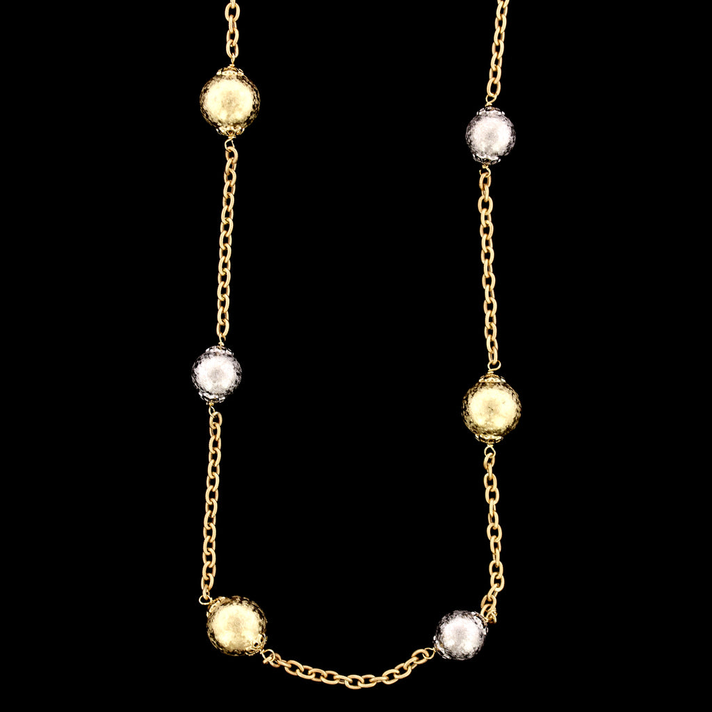 14K Two-tone Gold Estate Bead Necklace