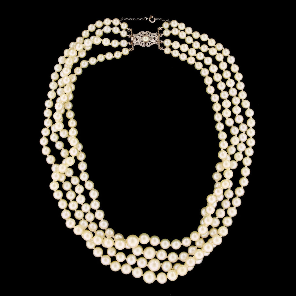 14K Yellow Gold Cultured Estate Pearl Necklace