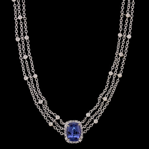 18K White Gold Estate Tanzanite and Diamond Necklace