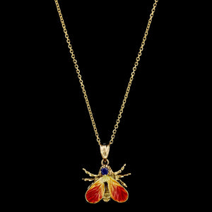 14K Yellow Gold Estate Enamel and Sapphire Fly Pendant