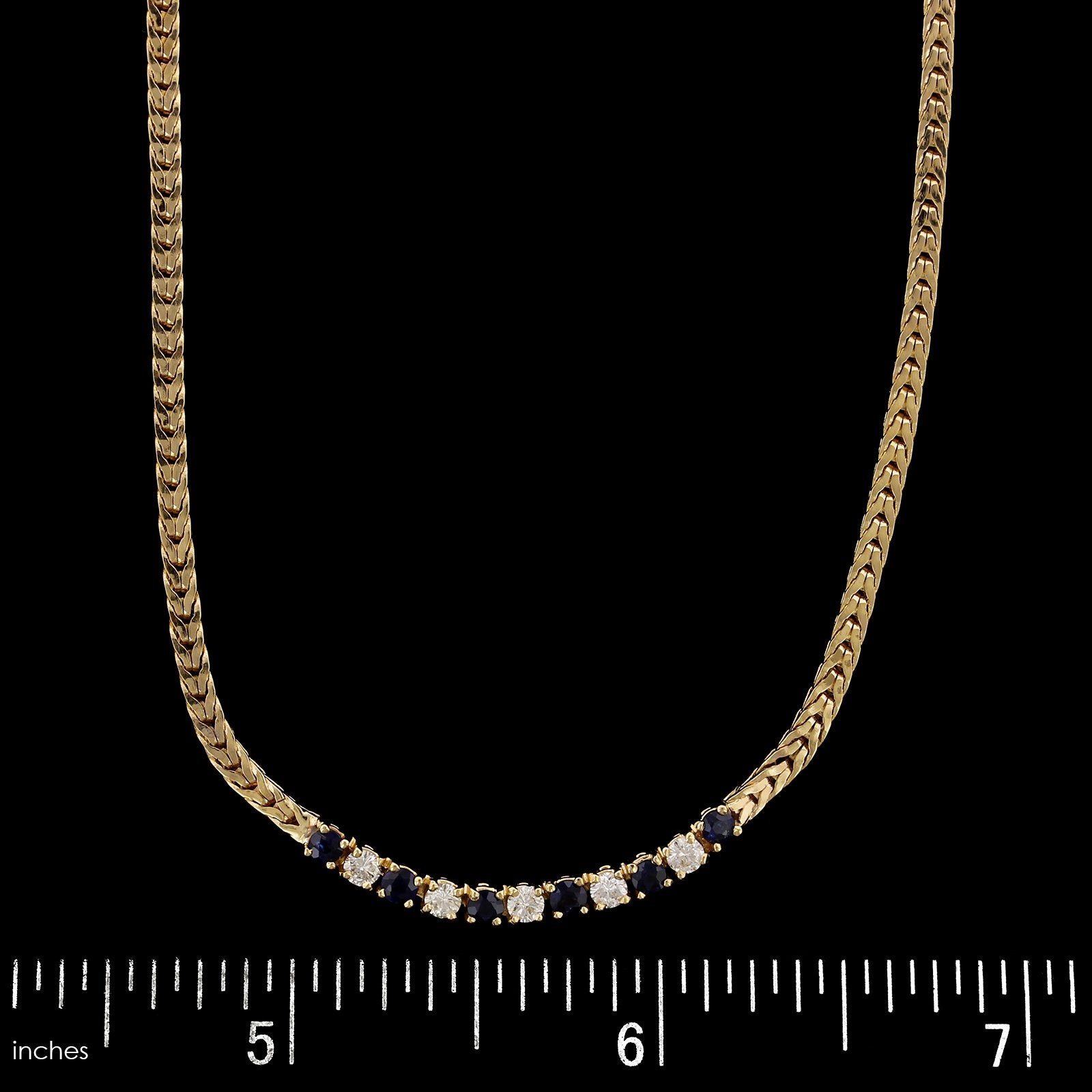 14K Yellow Gold Estate Sapphire and Diamond Necklace