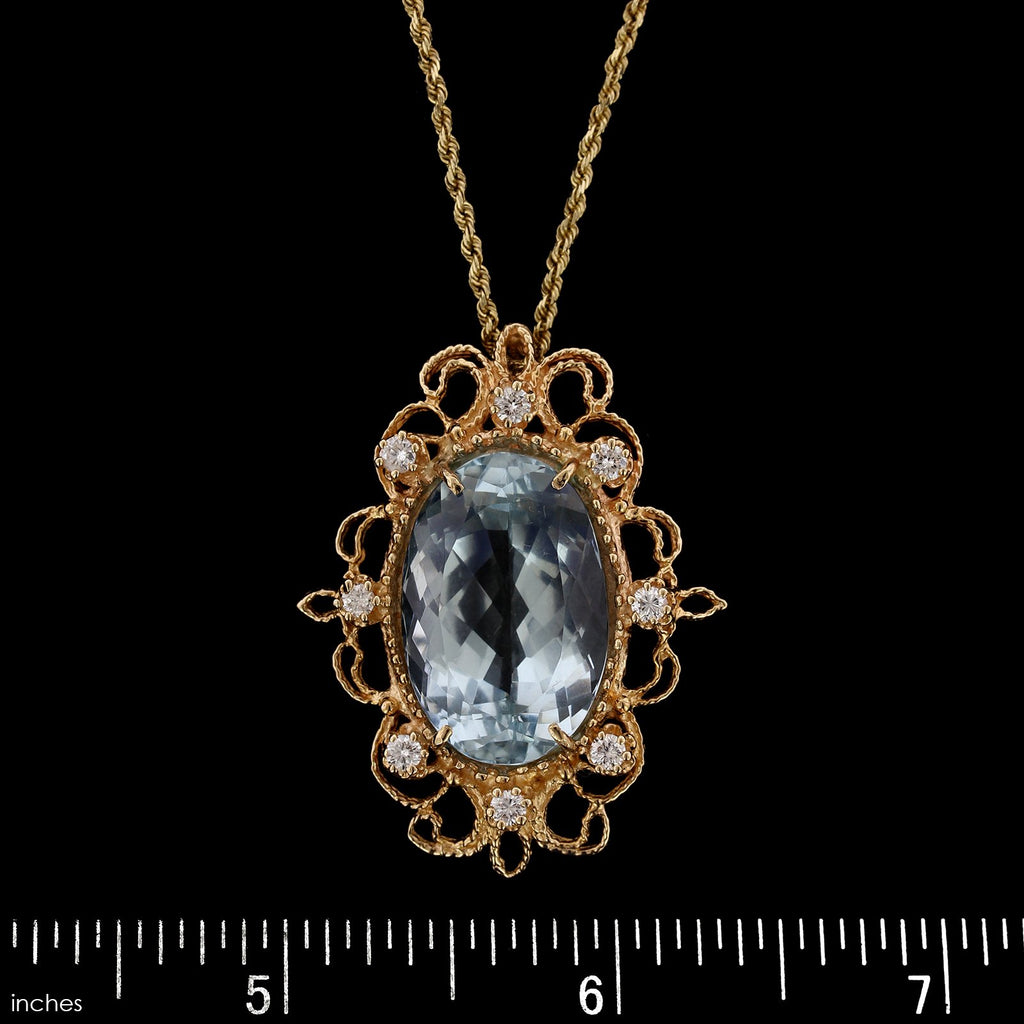 14K Yellow Gold Estate Blue Topaz and Diamond Pendant
