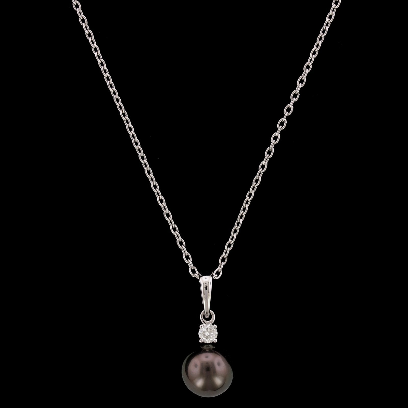 Mikimoto 18K White Gold Estate Cultured Black South Sea Pearl Pendant