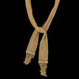 14K Yellow Gold Estate Fancy Woven Chain Scarf Necklace