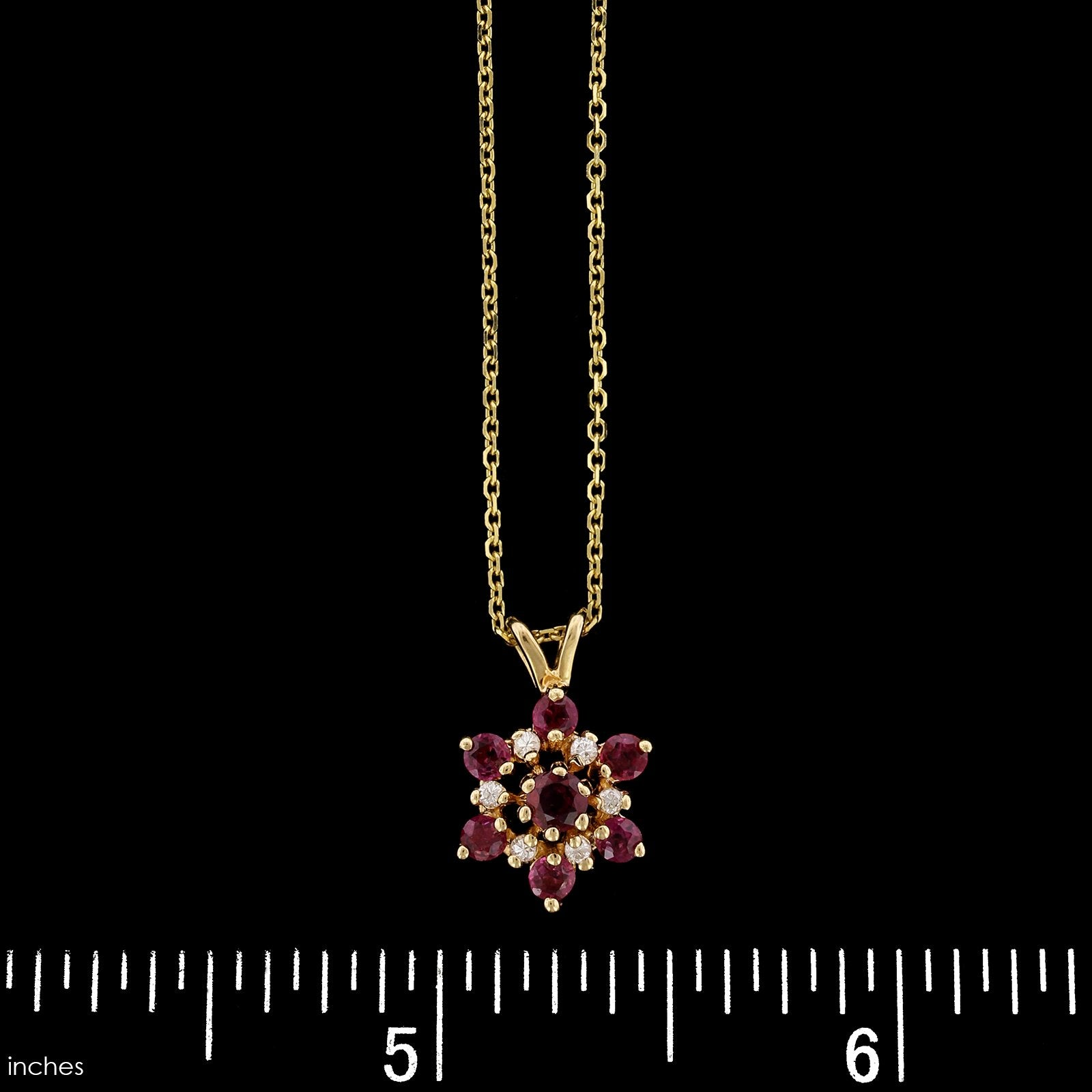 14K Yellow Gold Estate Ruby Diamond Pendant