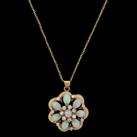 14K Yellow Gold Estate Opal and Diamond Pendant