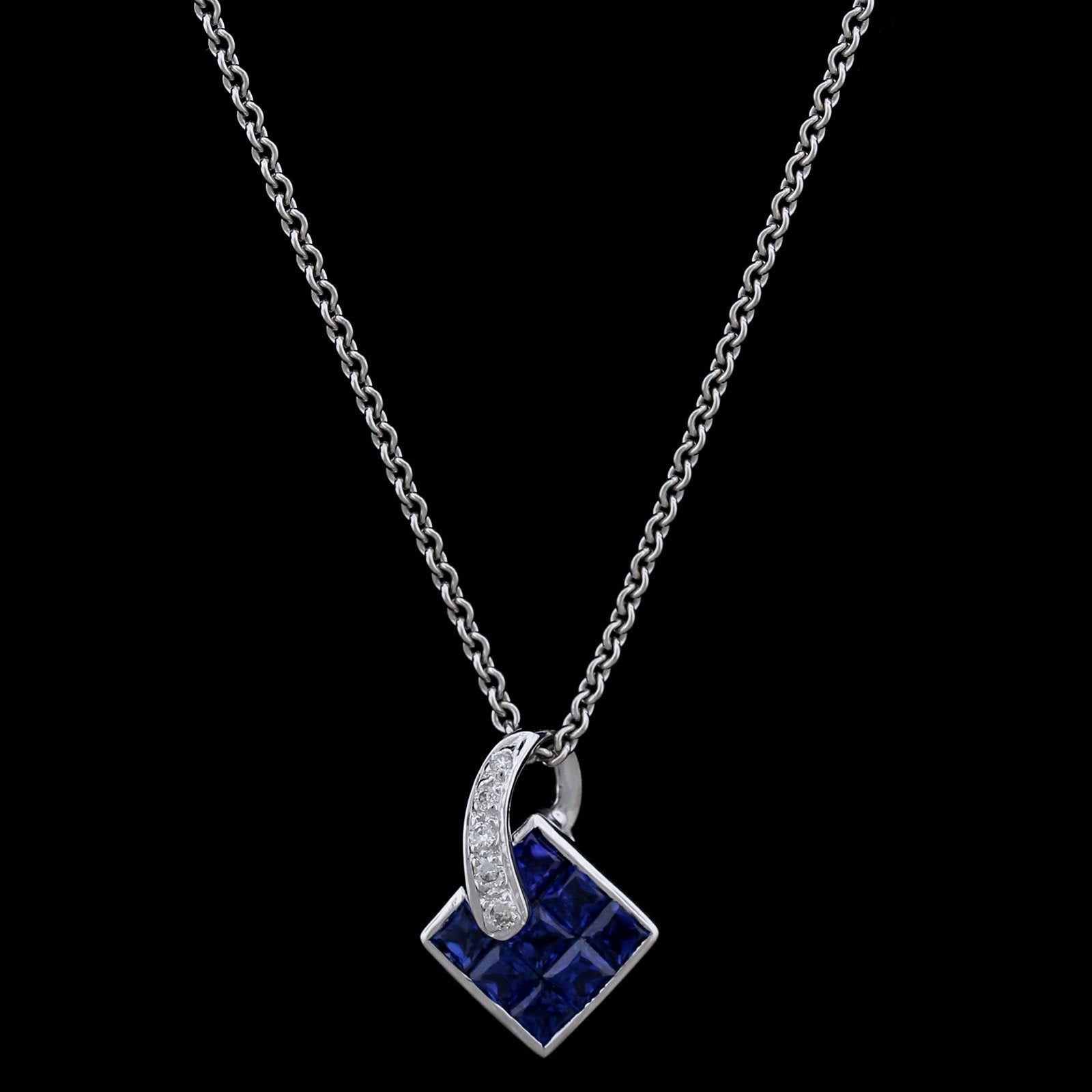 18K White Gold Estate Sapphire and Diamond Pendant