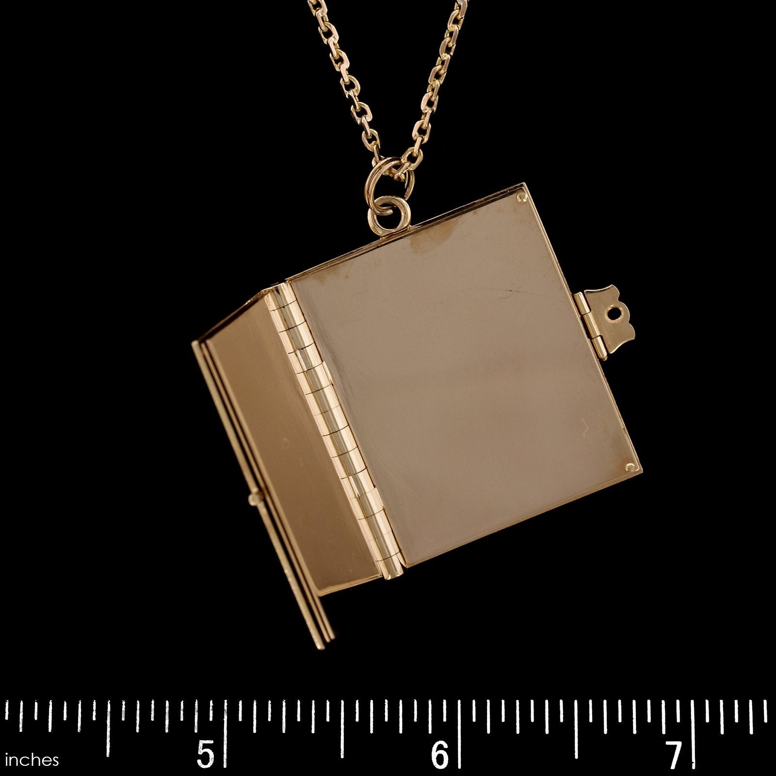 14K Yellow Gold Estate Book Locket Pendant