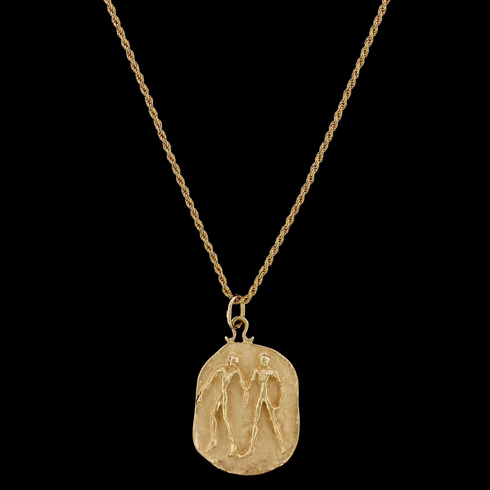 14K Yellow Gold Estate Gemini Zodiac Pendant