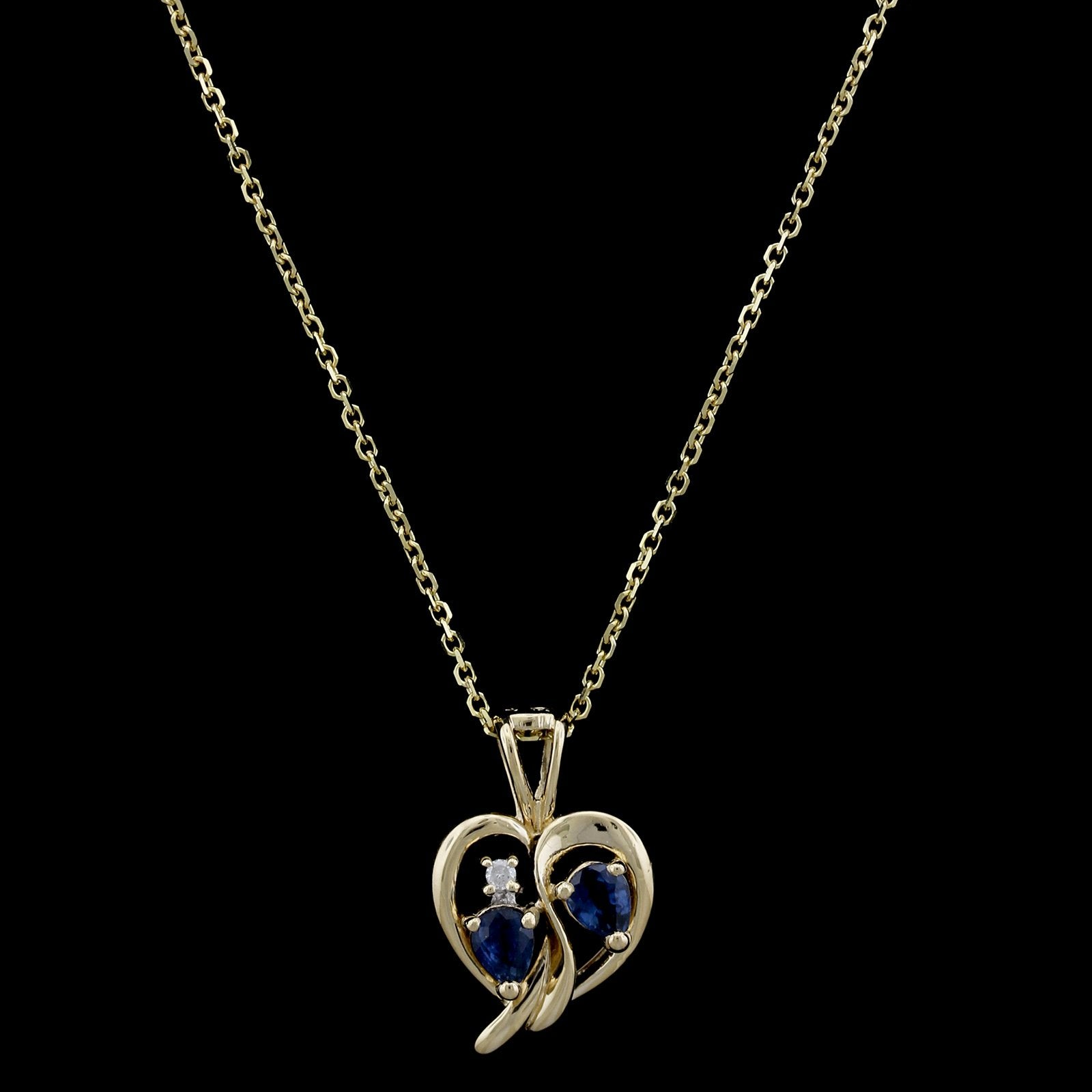 14K Yellow Gold Estate Sapphire and Diamond Heart Pendant