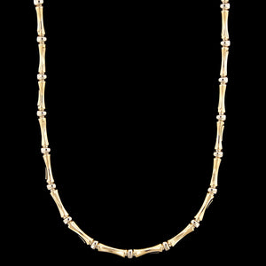14K Two-tone Gold Estate Bamboo Style Link Necklace