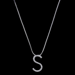 14K White Gold Estate Diamond Initial S Pendant