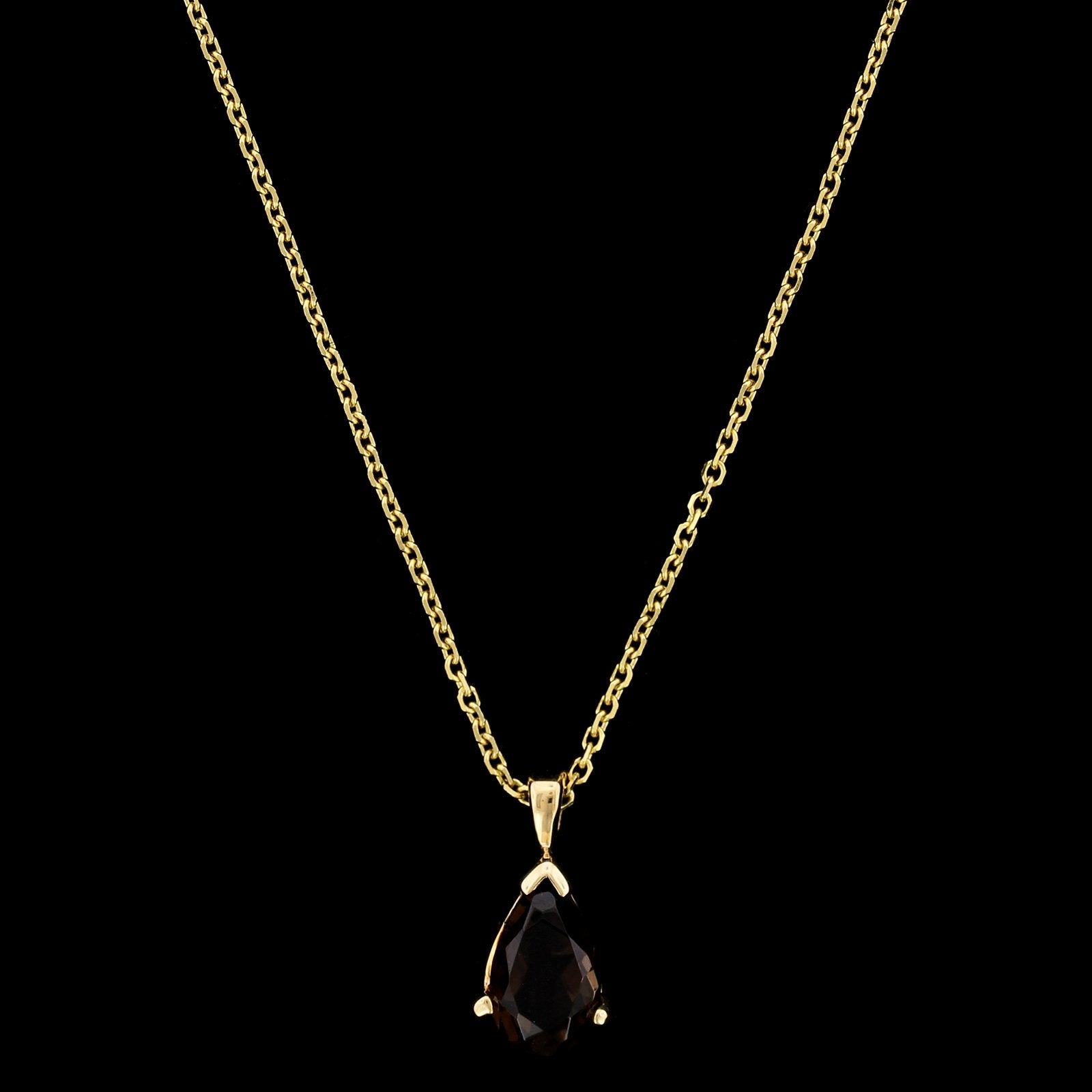 14K Yellow Gold Estate Smoky Quartz Pendant