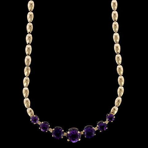 14K Yellow Gold Estate Amethyst Necklace