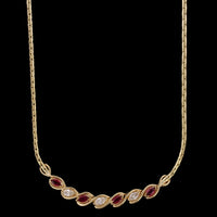 14K Yellow Gold Estate Ruby and Diamond Necklace