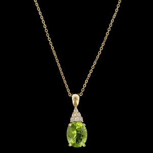 14K Yellow Gold Estate Peridot and Diamond Pendant