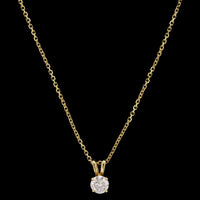 14K Yellow Gold Estate Diamond Solitaire Pendant