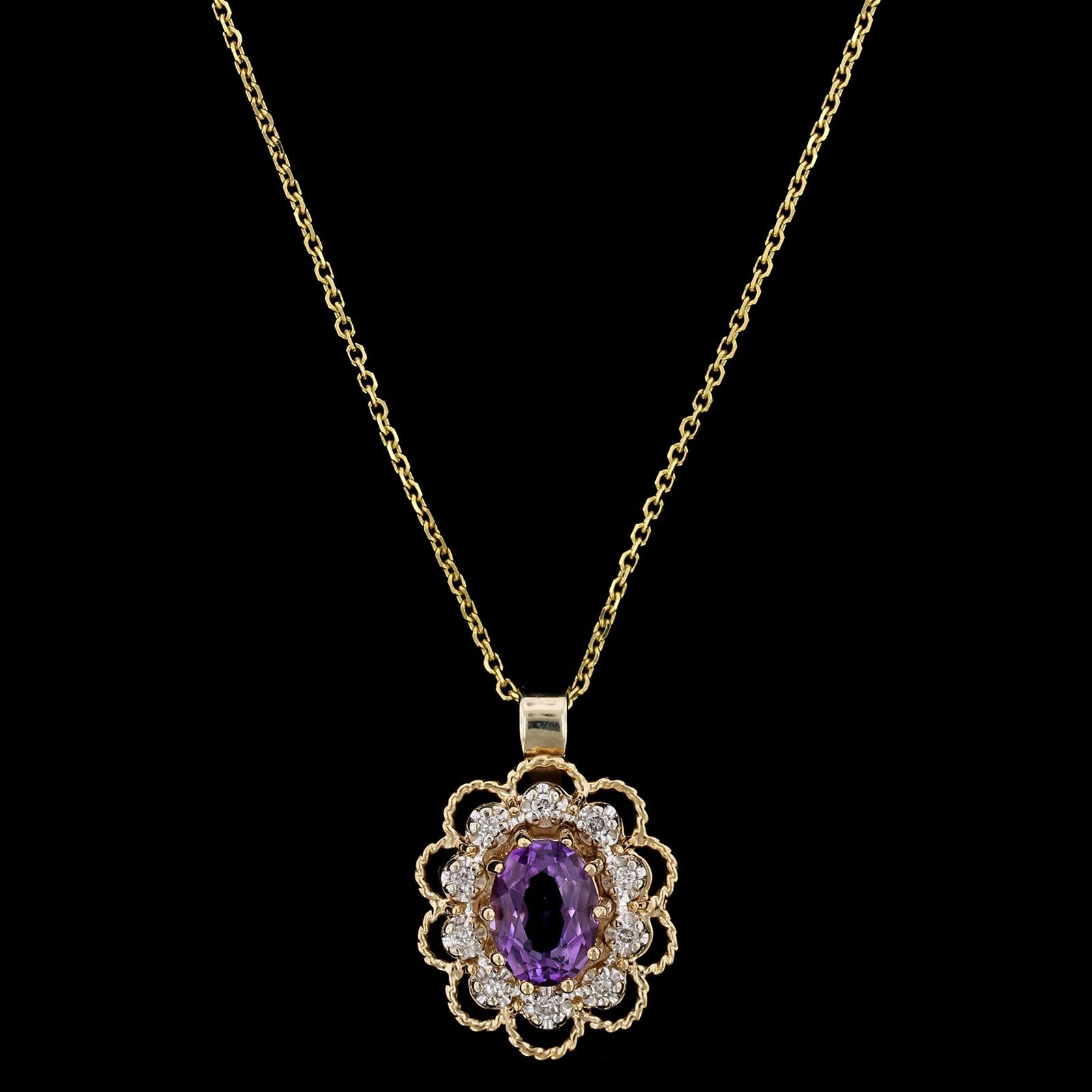14K Yellow Gold Estate Amethyst and Diamond Pendant