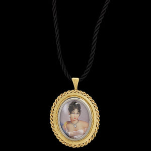 Vintage 18K Yellow Gold Estate Portrait Pendant/Pin