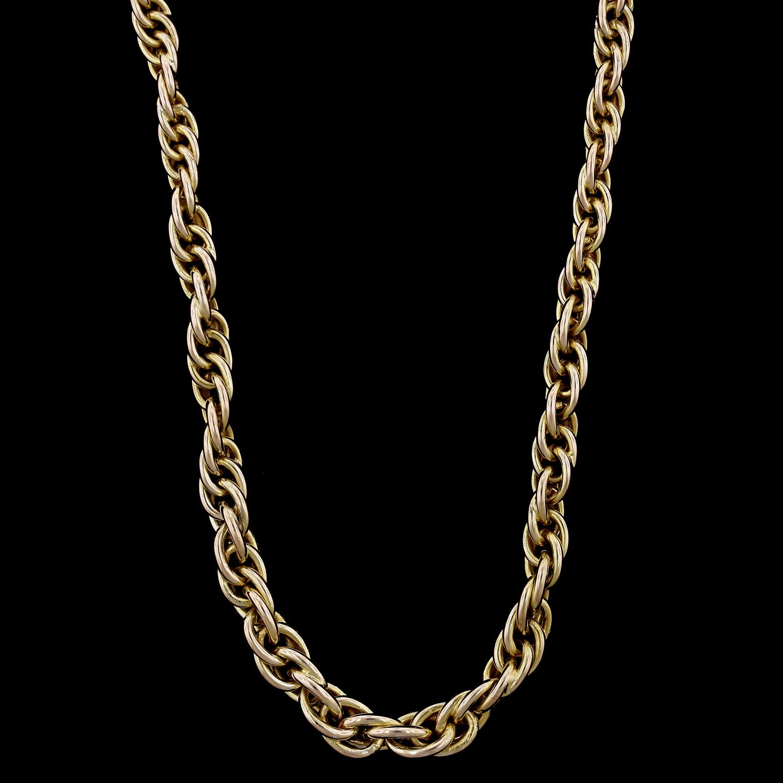 14K Yellow Gold Estate Graduted Rope Chain