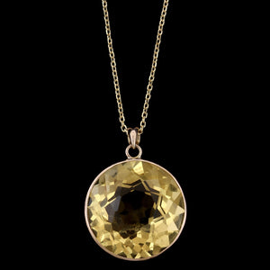 14K Yellow Gold Estate Citrine Pendant