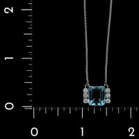 Platinum Estate Aquamarine and Diamond Pendant